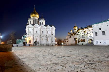 Cathedral Square at night, Inside of Moscow Kremlin, Russia. Stock Photo