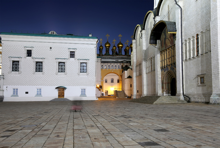eclecticism: Cathedral Square at night, Inside of Moscow Kremlin, Russia. Stock Photo