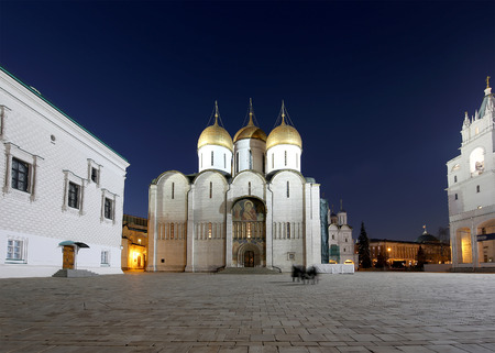 Assumption Cathedral (was the site of coronation of Russian tsars) at night. Cathedral Square, Inside of Moscow Kremlin, Russia.