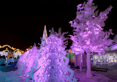city pushkin: Christmas night Moscow ---  Music Forest on Pushkin Square (Festival Journey to Christmas),  Russia