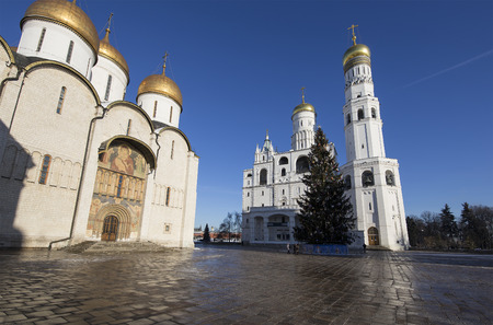 Ivan the Great Bell-Tower complex with New Year (Christmas)  tree. Cathedral Square, Inside of Moscow Kremlin, Russia.