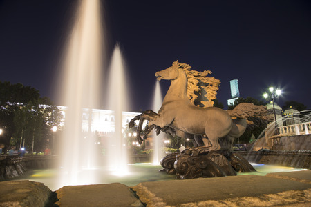 Fountain Four Seasons on Manezh Square (at night) near the ancient Kremlin,  Moscow, Russia