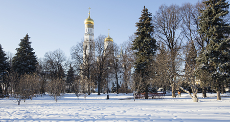 Ivan the Great Bell-Tower complex. Cathedral Square, Inside of Moscow Kremlin, Russia. UNESCO World Heritage Site