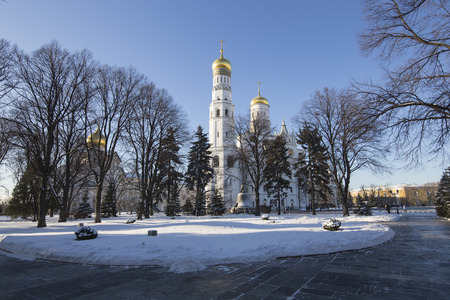 eclecticism: Ivan the Great Bell-Tower complex. Cathedral Square, Inside of Moscow Kremlin, Russia. UNESCO World Heritage Site