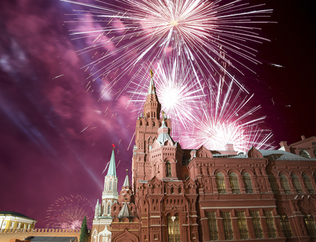 Fireworks over the State Historical Museum at night. Moscow, Russia