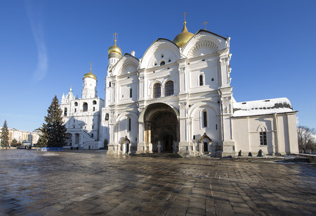 eclecticism: Cathedral Square with New Year (Christmas)  tree, Inside of Moscow Kremlin, Russia. UNESCO World Heritage Site
