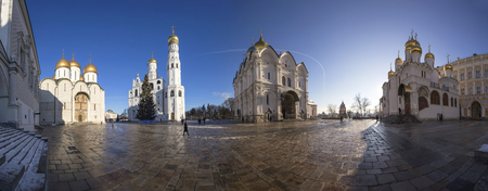 Panorama Cathedral Square with New Year (Christmas)  tree, Inside of Moscow Kremlin, Russia. UNESCO World Heritage Site