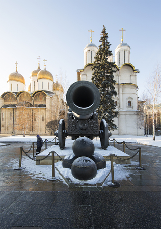tsar: The Tsar Cannon, inside of Moscow Kremlin on a sunny winter day, Russia