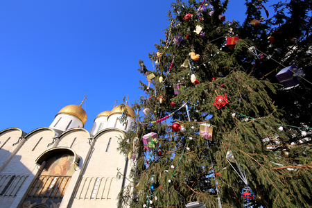 Cathedral Square with New Year (Christmas)  tree, Inside of Moscow Kremlin, Russia. UNESCO World Heritage Site