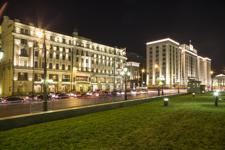 Building of The State Duma of the Federal Assembly of Russian Federation (at night), Moscow, Russia