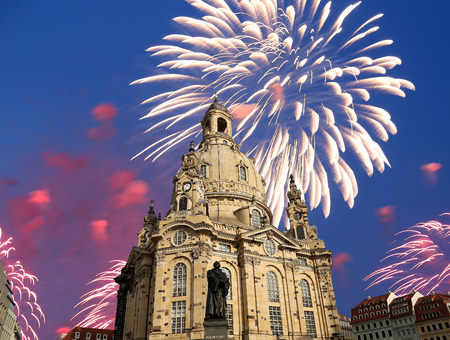 literally: Dresden Frauenkirche ( literally Church of Our Lady)and holiday fireworks-- is a Lutheran church in Dresden, Germany