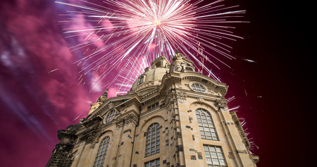 dresden: Dresden Frauenkirche ( literally Church of Our Lady)and holiday fireworks-- is a Lutheran church in Dresden, Germany