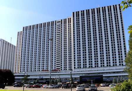 privileged: Izmailovo Hotel (inscription in Russian) in Moscow, Russia. One of the largest hotels in the world. There are 7500 beds in 5000 rooms
