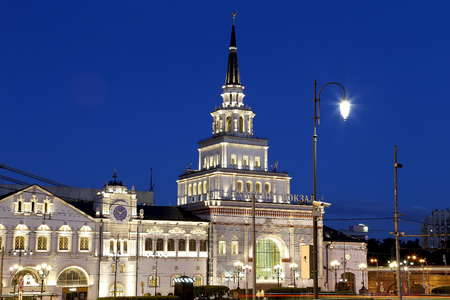 kazansky: Kazansky railway terminal ( Kazansky vokzal) at night -- is one of nine railway terminals in Moscow, Russia. Construction of the modern building according to the design by architect Alexey Shchusev started in 1913 and ended in 1940 Editorial