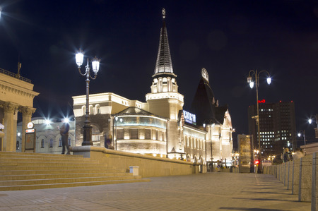 Yaroslavsky railway station building (night), Moscow, Russia-- is one of nine main railway stations in Moscow, situated on Komsomolskaya Square. It has highest passenger throughput of all nine Moscow stations