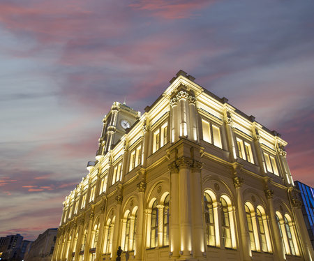 storehouse: Facade historic building of the Leningradsky railway station (night) -- is one of the nine main railway stations of Moscow, Russia