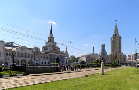referred: Komsomolskaya Square. Moscow, Russia. It is often referred to informally as Three Station Square  thanks to three railway station situated there: Leningradsky, Yaroslavsky and Kazansky