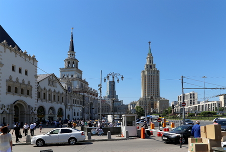 sights of moscow: Yaroslavsky railway station building, Moscow, Russia-- is one of nine main railway stations in Moscow, situated on Komsomolskaya Square.