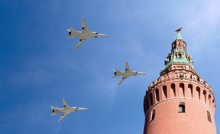 Russian military aircrafts fly in formation over Moscow Kremlin  during Victory Day parade, Russia Editorial