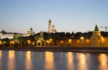 Moscow Kremlin and the Moscow river (by night), Russia. UNESCO World Heritage Site