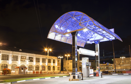 Filling station (Gas station) at night, Moscow, Russia Stock Photo