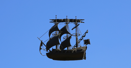 caravel with open sails against the sky (3D Model)
