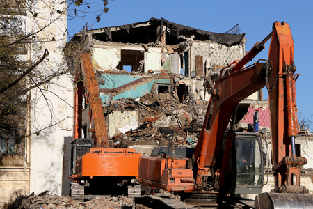 Demolition of an old house. Moscow, Russia Editorial