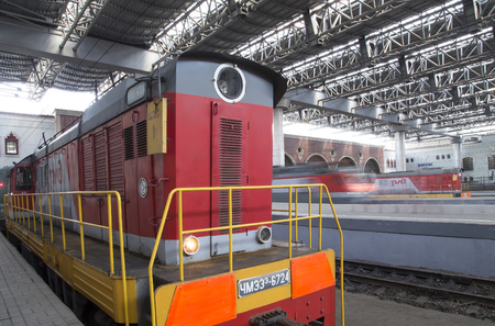 kazansky: Train on Kazansky railway terminal ( Kazansky vokzal) -- is one of nine railway terminals in Moscow, Russia. Construction of the modern building according to the design by architect Alexey Shchusev started in 1913 and ended in 1940