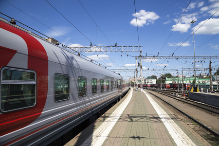 Train on Kazansky railway terminal ( Kazansky vokzal) -- is one of nine railway terminals in Moscow, Russia. Construction of the modern building according to the design by architect Alexey Shchusev started in 1913 and ended in 1940