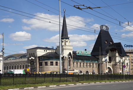 sights of moscow: Yaroslavsky railway station building (Written Yaroslavsky railway station in Russian), Moscow, Russia-- is one of nine main railway stations in Moscow, situated on Komsomolskaya Square