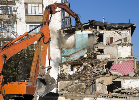 Demolition of an old house. Moscow, Russia Stock Photo