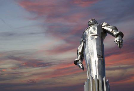 Monument to Yuri Gagarin (42.5-meter high pedestal and statue), the first person to travel in space. It is located at Leninsky Prospekt in Moscow, Russia. The pedestal is designed to be reminiscent of a rocket exhaust
