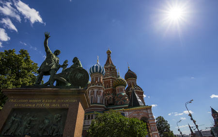 Cathedral of Intercession of Most Holy Theotokos on the Moat ( Temple of Basil the Blessed), Red Square, Moscow, Russia Stock Photo