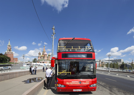City sightseeing bus of the City Sightseeing Moscow bus company at the city street, Russia