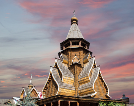 Church of St. Nicholas in Izmailovsky Kremlin (Kremlin in Izmailovo), Moscow, Russia. The new church, built in the traditions of Russian wooden architecture Stock Photo