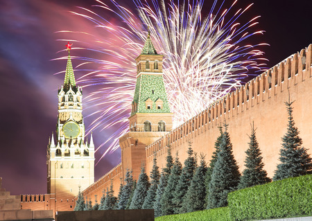 entertainment center: Fireworks over the Moscow Kremlin, Russia Stock Photo