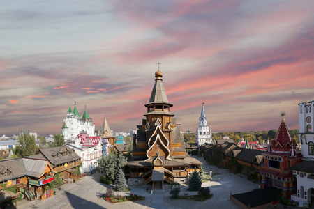Church of St. Nicholas in Izmailovsky Kremlin (Kremlin in Izmailovo), Moscow, Russia-- panorama. The new church, built in the traditions of Russian wooden architecture Zdjęcie Seryjne