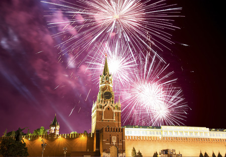 pyrotechnics: Fireworks over the Moscow Kremlin, Russia Stock Photo