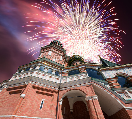 Fireworks over the Saint Basil cathedral ( Temple of Basil the Blessed), Red Square, Moscow, Russia Stock Photo