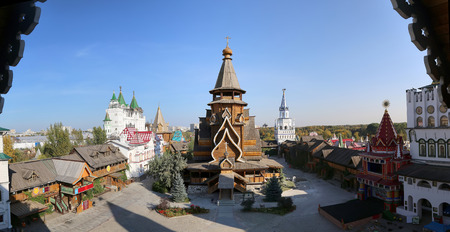 Church of St. Nicholas in Izmailovsky Kremlin (Kremlin in Izmailovo), Moscow, Russia-- panorama. The new church, built in the traditions of Russian wooden architecture Stock Photo