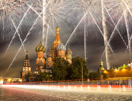 Fireworks over the Saint Basil cathedral ( Temple of Basil the Blessed), Red Square, Moscow, Russia Reklamní fotografie