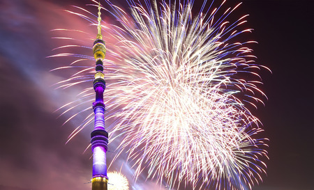Fireworks over the Television (Ostankino) tower, Moscow, Russia