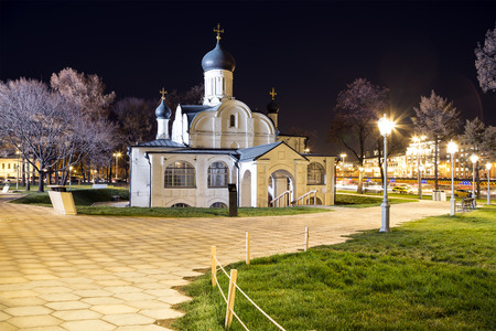 Church of the conception of St Anne (at Night)-- view from modern park Zaryadye in Moscow, Russia. Urban park located near Red Square