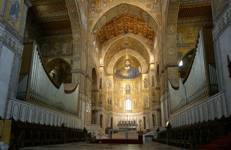 The Christ Pantokrator, Cathedral-Basilica of Monreale, is a Roman Catholic church in Monreale, Sicily, southern Italy 에디토리얼