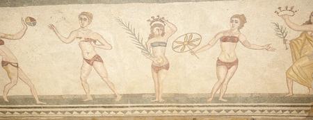 Mosaic fragment Roman Villa Romana del Casale, Sicily