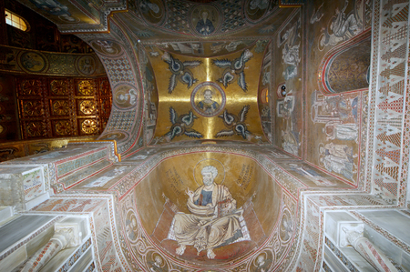 The interior Cathedral-Basilica of Monreale, is a Roman Catholic church in Monreale, Sicily, southern Italy.