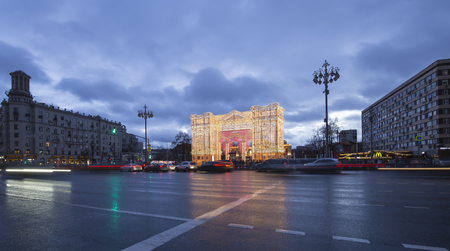 Christmas and New Year holidays illumination in Moscow city center (Pushkin Square) at night, Russia      Editorial