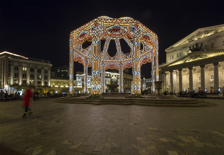 Bolshoi Theatre (Large, Great or Grand Theatre, also spelled Bolshoy)  decoration to Christmas and New Year holidays at night. Moscow, Russia