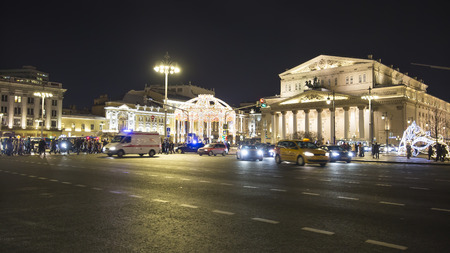 Christmas (New Year holidays) decoration near  the Bolshoi Theatre (Large, Great or Grand Theatre, also spelled Bolshoy) at night, Moscow, Russia