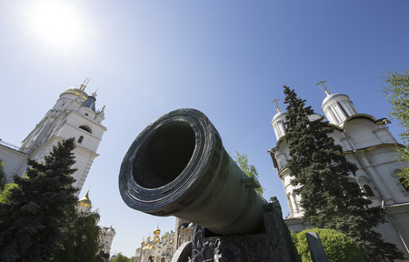 Inside of Moscow Kremlin, Russia (day).  The Tsar Cannon